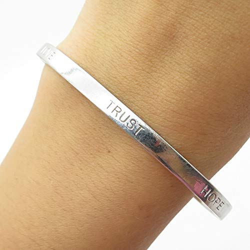 Elle 925 Sterling Silver Real Ruby Gemstone Love Trust Hope Cuff Bracelet 7