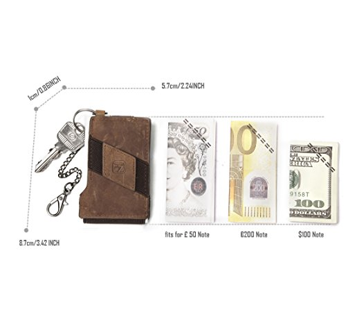 Coins Genuine Black Pouch Protection Brown Change Spandex leather Holder Purse Card RFID Money Micro Wallet Light Clip Band pOpZqwr