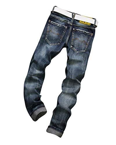 Distrutti Jeans Normali Stile Uomo Denim Di Semplice Moda Dritti Da Blau Fit Slim Vintage Pantaloni rpq8qxy4tR