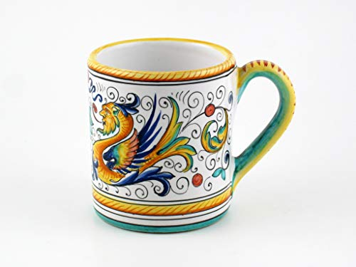 Hand Painted Italian Ceramic Mug Raffaellesco - Handmade in Deruta Italy - Hand Painted Italian