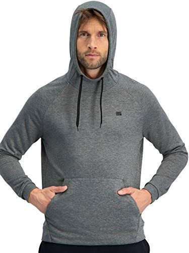 Dry Fit Mens Hoodies Pullover - Workout Sweatshirts for Men w/Adjustable Hoodie Charcoal