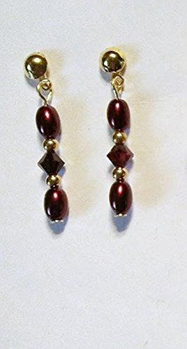 Garnet Glass Pearl Rice Shape Swarovski Garnet Crystal Earrings