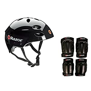 Razor E325 Electric 24V Motorized Scooter (Black) w/ Helmet, Elbow and Knee Pads