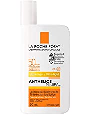 La Roche-Posay Sunscreen Lotion, Anthelios Tinted Mineral Sunscreen Ultra-Fluid Lotion Face Broad Spectrum SPF 50 Titanium Dioxide, Fragrance Free, 50ml