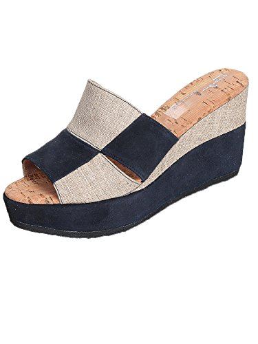 Marion Spath Damen 33-03-06 Wildleder Designer-Pantolette Blau/Sand