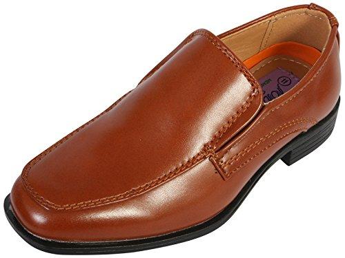 Jodano Collection Boys Comfort Slip On Loafers, Cognac
