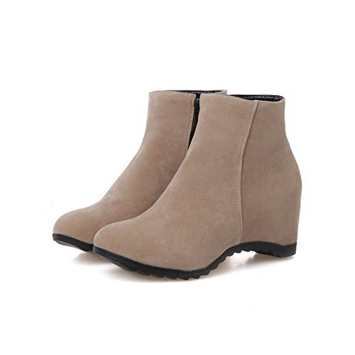AmoonyFashion Womens High Heels Ankle High Solid Zipper Boots Beige MNh9vl6wF