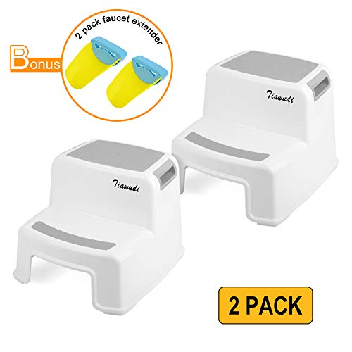 (2 Step Stool for Kids (2 Pack), Toddlers Stool for Potty Training, Toilet Stools in Bathroom, Kitchen, Two-Step Design with Soft Anti-Slip Grips for Safety, with 2 Free Faucet Extender)