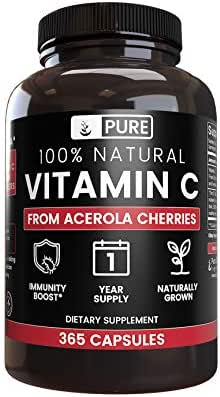 100% Natural Vitamin C from Acerola Cherry, 1 Year Supply, No Synthetic Ascorbic Acid, No Rice Fillers or Magnesium Stearate, 365 Capsules with 535 mg Undiluted Acerola Cherry with No Additives