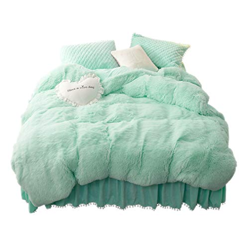 - LIFEREVO Luxury Plush Shaggy Duvet Cover Set (1 Faux Fur Duvet Cover + 2 Pompoms Fringe Pillow Shams) Solid, Zipper Closure (Queen, Mint)