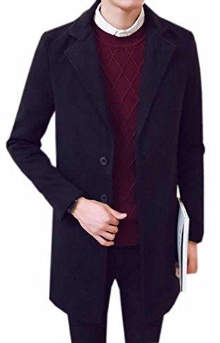 Papijam Mens Casual Lapel Solid Classic Overcoat Peacoats Black XXXS