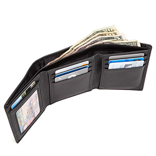 617f0f104155 Extra Capacity Trifold Wallet for Men - RFID Blocking Genuine Leather Wallet