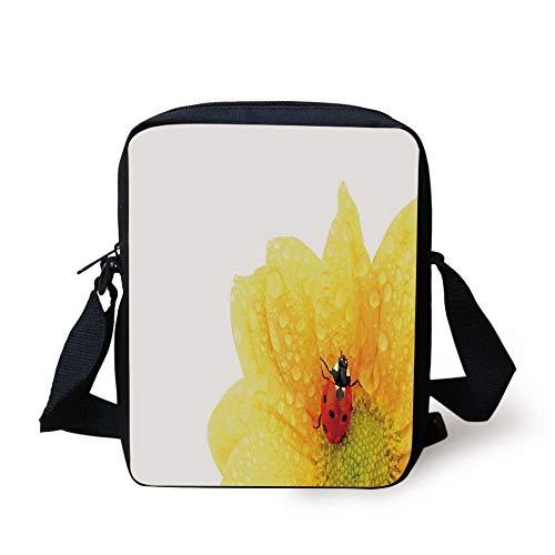 Decorative Prep Drop - Yellow Flower,Cute Little Ladybug on Gerbera Wet Petals Water Drops Fresh Garden Decorative,Yellow Vermilion Print Kids Crossbody Messenger Bag Purse