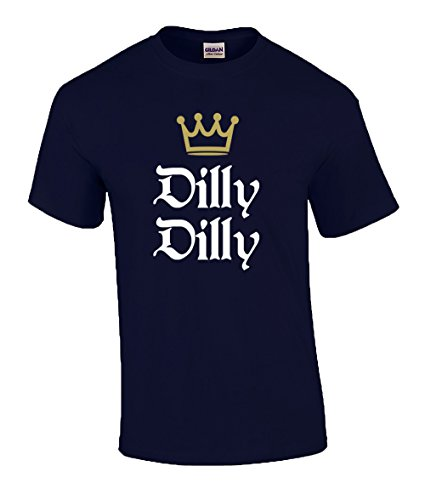Trenz Shirt Company Funny Beer Drinking Dilly Dilly King Crown Outline Short Sleeve T-Shirt-Navy-XXXL