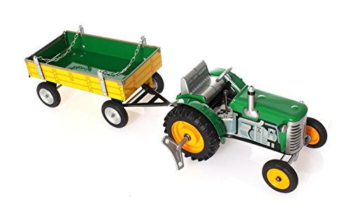 (WPS Tractor and Trailer with Clockwork Drive, Green - Mechanical Tin)