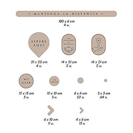 Pack 138 Vinilos para Suelo Antideslizante con certificado R9 Se/ñalizaci/ón Distancias de Seguridad NEGRO Adhesivos de Medidas de Protecci/ón