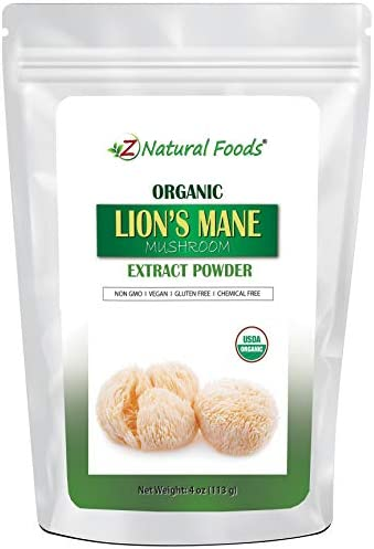 Organic Lion's Mane Mushroom Powder Extract - Boost Memory, Focus, Brain, Immune System - Natural Supplement for Coffee, Tea, Smoothie, Recipe - Vegan, Non GMO, Gluten Free - 5 Beta Glucan - 4 oz