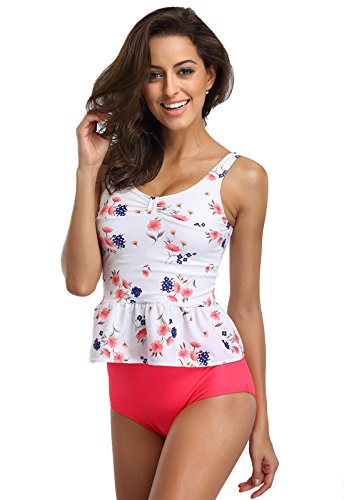 FanShou Women Floral Print Peplum Tankini Top Two Piece High Waist Swimsuit Swimwear (Small, (Pink Floral Tankini)
