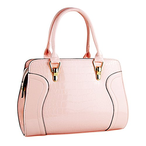 Mujer Stitching Plaid Color Puro Crocodile Lines Totalizador Crossbody Bolso Rose Pink