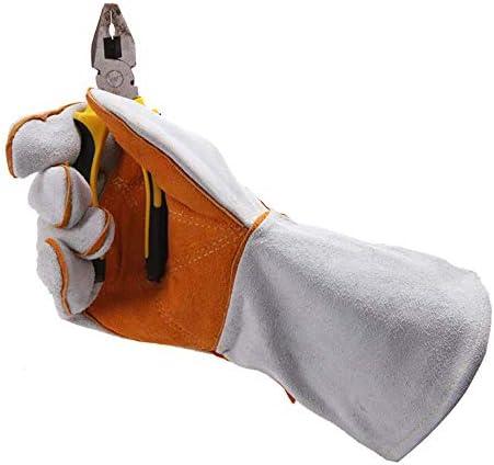 AMAZACER 手袋を溶接、ヒート&耐火レザーグリルグローブ、ミグのための34cmのミット、ティグ溶接機、グリル、BBQ、オーブン、暖炉、ストーブ