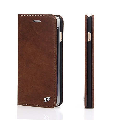 "Nubuck Full Grain Leather Magnetic Folio Stand Protective Case for Apple iPhone 6 Plus & iPhone 6s Plus 5.5"" (Coffee)"