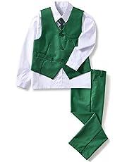 Yuanlu 4 Piece Boys' Formal Suit Set with Vest Pants Dress Shirt and Tie