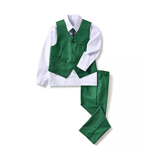 (Yuanlu 4 Piece Youth Kids Boys' Vest and Pants Set Dress White Shirt and Tie Green Size 2T)