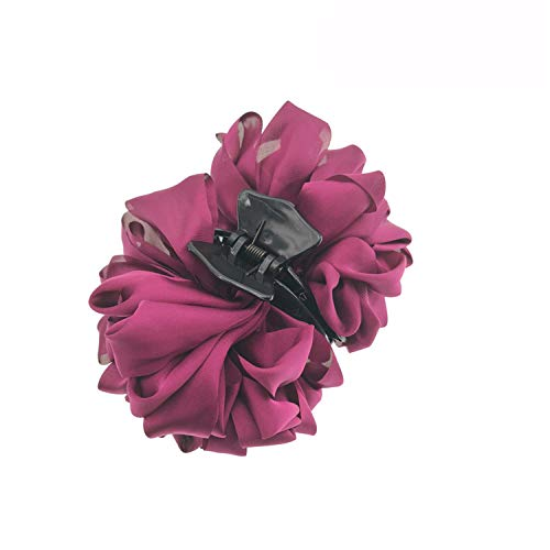 Large Silk Flower Bow Hair Claw Jaw Clips For Women Hair Clamps Girls' Wedding Barrettes Hair Accessories PC081 aubergine