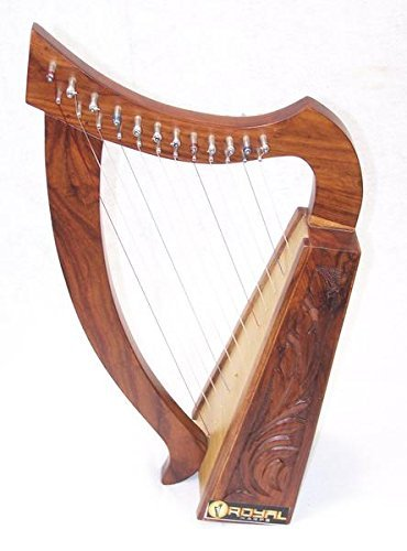 21 Inch Tall Celtic Baby Harp 12 Strings Solid Wood Free Bag Strings Key