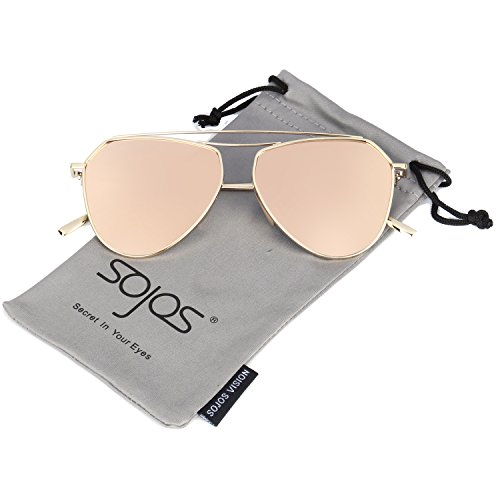 SojoS Classic Metal Double Bridge Aviator Style Flash Mirror Lenses Sunglasses SJ1040 With Gold Frame/Pink Lens