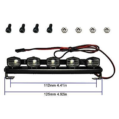 125mm LED Light Bar Roof Lamp Kit for 1/10 Traxxas Trx4 Axial SCX10 ii Wraith Gen7 RC Crawler Truck (5 light): Toys & Games