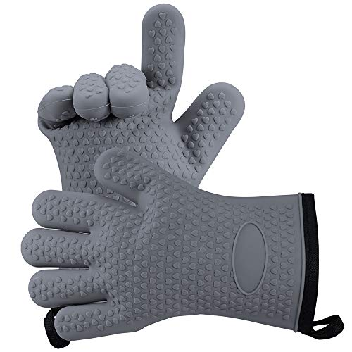 WARMWIND Silicone Oven Mitts, Silicone Cotton Gloves, BBQ Gloves, Heat Resistant Gloves, Perfect for Baking, Grilling and Kitchen, Grey(2 Pack)