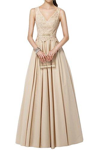 V Ausschnitt Brautmutterkleider Spitze Ballkleider Partykleider Gruen Lang Abendkleider La Marie Jaeger Champagner Braut WHfq1qgaS
