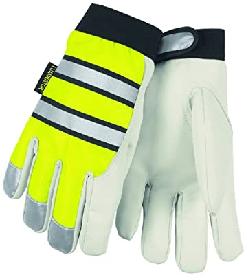 MCR Safety 968L Luminator Grain Goatskin Leather High Visibility Men's Gloves with Adjustable Wrist Closure, Lime Green/White, Large, 1-Pair