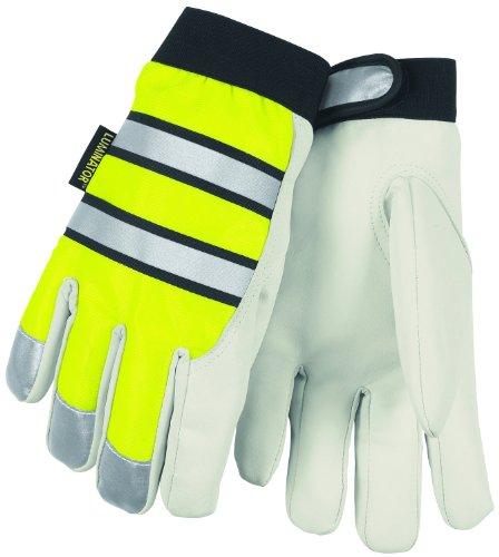 (Memphis Glove 968L Luminator Grain Goatskin Leather High Visibility Men's Gloves with Adjustable Wrist Closure, Lime Green/White, Large, 1-Pair)