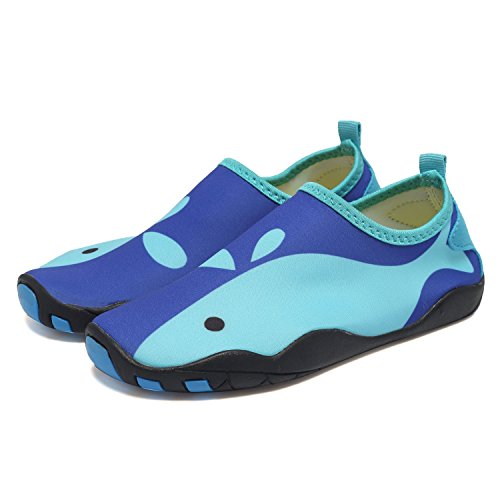 CIOR Kids Water Shoes Quick-Dry Boys and Girls Slip-On Aqua Beach Sneakers (Toddler/Little Kid/Big Kid),W18,W.Blue,25 2