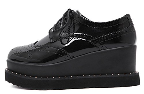 Idifu Womens Casual Ronde Neus Lage Top Midgig Hakken Platform Schoenen Lace Up Sneakers Zwart