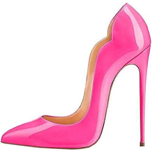 Jushee Stiletto High Heels for Women Closed Pointed Toe Pumps Shoes Rose ZiEj6uI