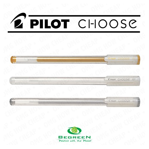 Pilot Choose Gel Ink Pen - Pilot BeGreen Choose - Gel Ink Rollerball - 0.7mm - Pack of 3 - Gold, Silver, and White - [73% Recycled Plastic]