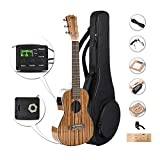 Caramel 6 String CB103G 30 Inch High Gloss Zebra Wood Acoustic & Electric Ukulele Guitalele with Truss Rod with Strings, Padded Gig Bag, Strap and Wall hanger