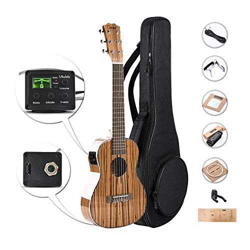 Truss Bag (Caramel 6 String CB103G 30 Inch High Gloss Zebra Wood Acoustic & Electric Ukulele Guitalele with Truss Rod with Strings, Padded Gig Bag, Strap and Wall hanger)