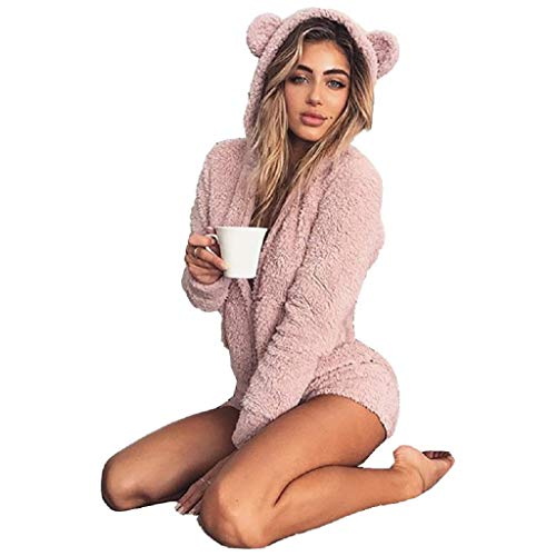 Fiaya Women's Autumn Cute Cat Ears Warm Fluffy Hooded Shorts Rompers Home Service Jumpsuit (Pink, M) -