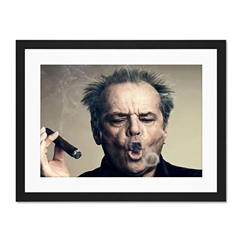 Doppelganger33 LTD Portrait Actor Jack Nicholson Cigar Smoke Ring Large Art Print Poster Wall Decor 18x24 inch Supplied Ready to Hang with Included Mount Brackets (Jack Nicholson Best Actor)