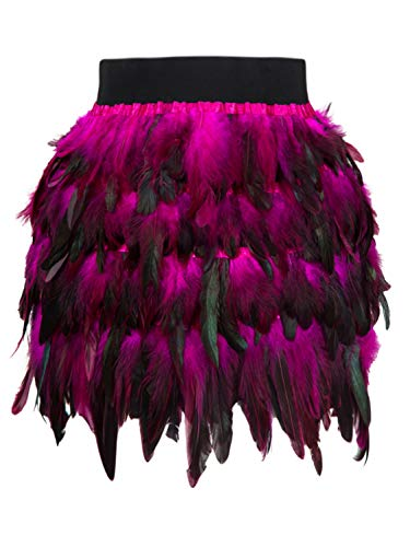 Women's Mid Waist A-Line Short Feather Skirt for Party Supply (Large, Red) ()