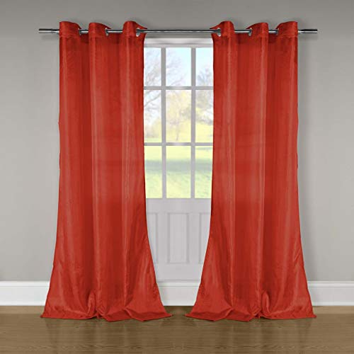 (Duck River Textiles - Aurora Crushed Taffeta Grommet Top Window Curtains for Living Room & Bedroom - Assorted Colors - (52 X 84 Inch - Red))