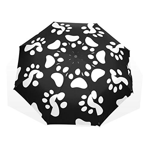 LUPINZ Dog Paw Prints Totes Umbrellas Compact Water-Resistant Travel Folding Umbrella
