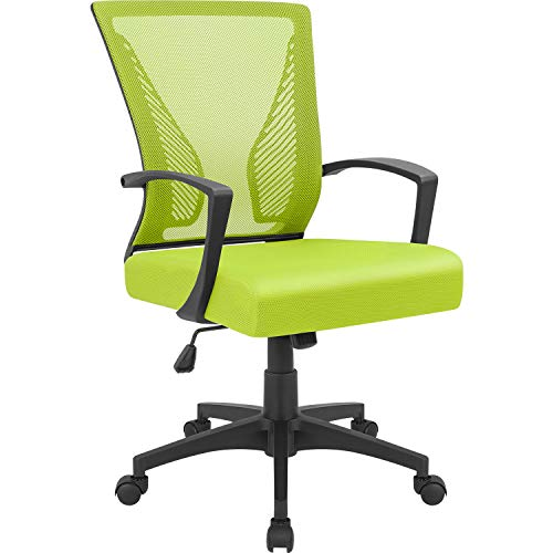 Furmax Office Chair Mid Back Swivel Lumbar Support Desk Chair, Computer Ergonomic Mesh Chair with Armrest (Cyan)