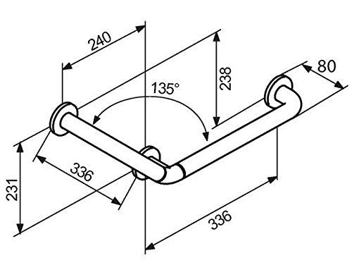 Barre dappui coud/ée 135/° 336 x 336mm Normbau