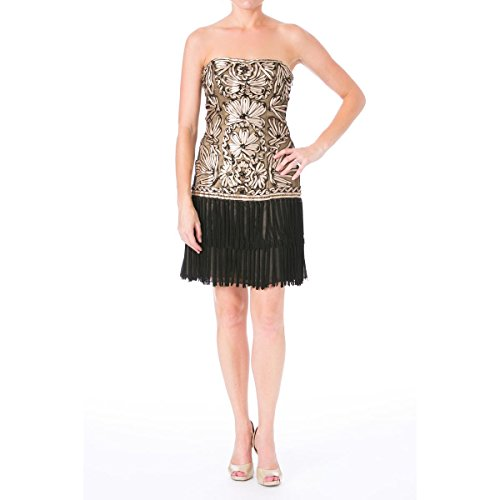 Sue Wong Womens Fringe Strapless Cocktail Dress Black 6