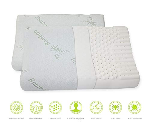 Natural Latex Pillow - Anti Snore Bed Pillow for Deep Sleep & Slim Sleeper - Soft Cervical Pillow for Neck and Shoulder Pain(2 Pack)